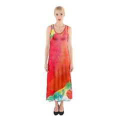 Lovely Red Poppy And Blue Dots Sleeveless Maxi Dress