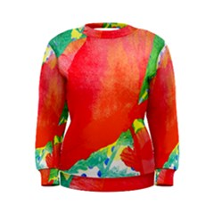 Lovely Red Poppy And Blue Dots Women s Sweatshirt