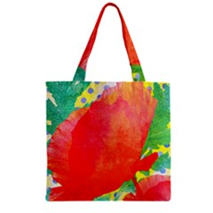 Lovely Red Poppy And Blue Dots Zipper Grocery Tote Bag by DanaeStudio