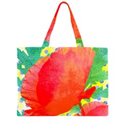 Lovely Red Poppy And Blue Dots Zipper Large Tote Bag