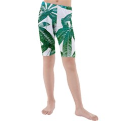 Pachira Leaves  Kids  Mid Length Swim Shorts