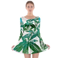 Pachira Leaves  Long Sleeve Skater Dress