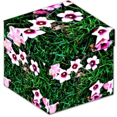 Pink Flowers Over A Green Grass Storage Stool 12