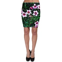 Pink Flowers Over A Green Grass Bodycon Skirt by DanaeStudio