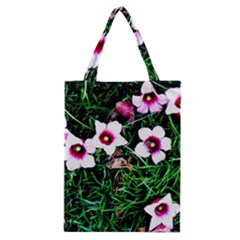 Pink Flowers Over A Green Grass Classic Tote Bag