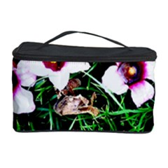 Pink Flowers Over A Green Grass Cosmetic Storage Case