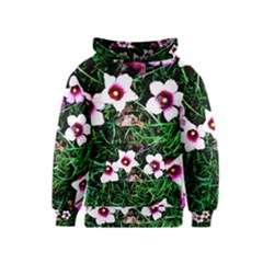 Pink Flowers Over A Green Grass Kids  Pullover Hoodie