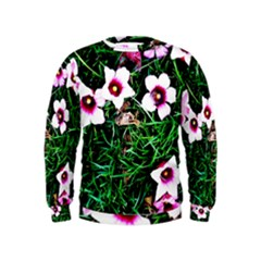 Pink Flowers Over A Green Grass Kids  Sweatshirt