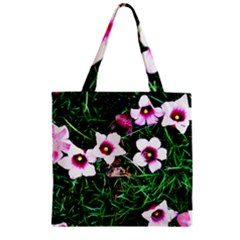 Pink Flowers Over A Green Grass Zipper Grocery Tote Bag by DanaeStudio