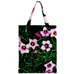 Pink Flowers Over A Green Grass Zipper Classic Tote Bag by DanaeStudio