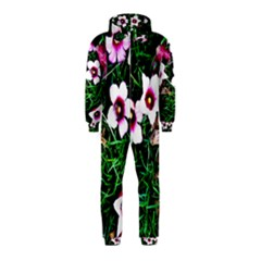 Pink Flowers Over A Green Grass Hooded Jumpsuit (kids)
