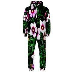 Pink Flowers Over A Green Grass Hooded Jumpsuit (men)