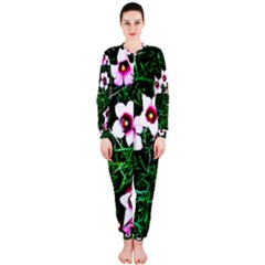 Pink Flowers Over A Green Grass Onepiece Jumpsuit (ladies)