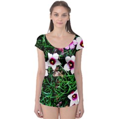 Pink Flowers Over A Green Grass Boyleg Leotard