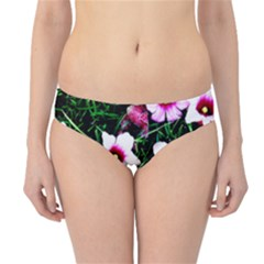 Pink Flowers Over A Green Grass Hipster Bikini Bottoms