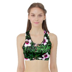 Pink Flowers Over A Green Grass Sports Bra With Border
