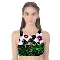 Pink Flowers Over A Green Grass Tank Bikini Top