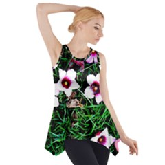 Pink Flowers Over A Green Grass Side Drop Tank Tunic