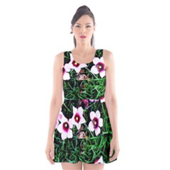 Pink Flowers Over A Green Grass Scoop Neck Skater Dress