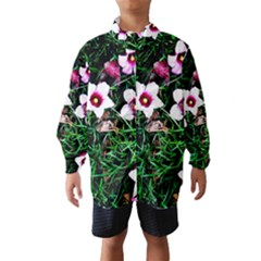 Pink Flowers Over A Green Grass Wind Breaker (kids)