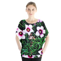 Pink Flowers Over A Green Grass Blouse by DanaeStudio