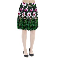 Pink Flowers Over A Green Grass Pleated Skirt by DanaeStudio