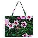 Pink Flowers Over A Green Grass Medium Zipper Tote Bag View1