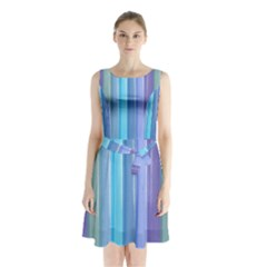 Provence Fields Lavender Pattern Sleeveless Chiffon Waist Tie Dress