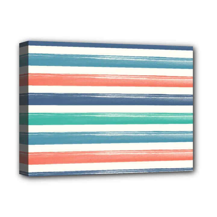 Summer Mood Striped Pattern Deluxe Canvas 16  x 12
