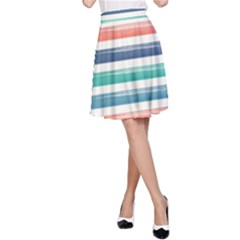 Summer Mood Striped Pattern A-line Skirt by DanaeStudio