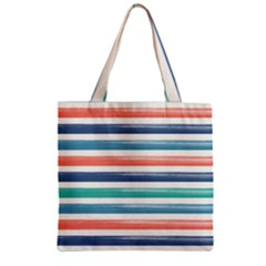 Summer Mood Striped Pattern Zipper Grocery Tote Bag by DanaeStudio