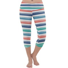 Summer Mood Striped Pattern Capri Yoga Leggings by DanaeStudio