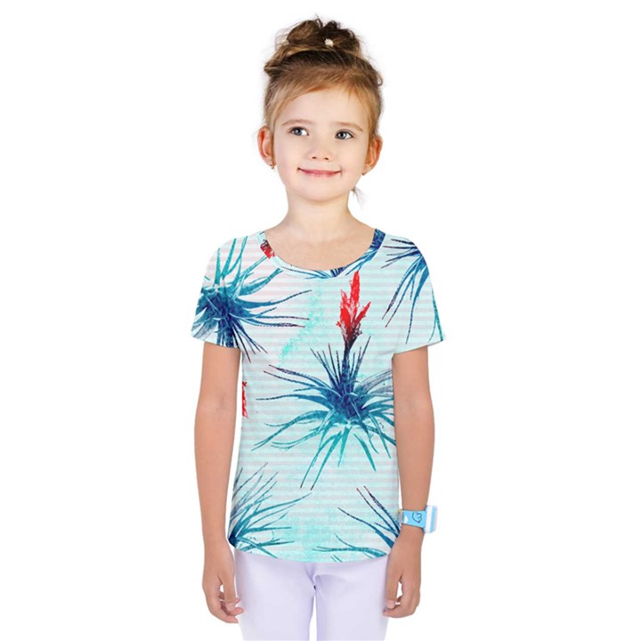 Tillansia Flowers Pattern Kids  One Piece Tee