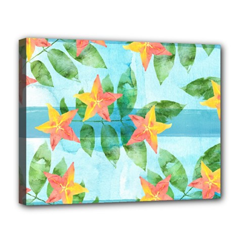 Tropical Starfruit Pattern Canvas 14  X 11  by DanaeStudio