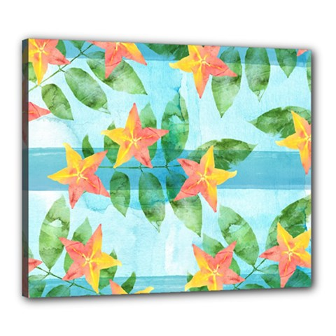 Tropical Starfruit Pattern Canvas 24  X 20  by DanaeStudio