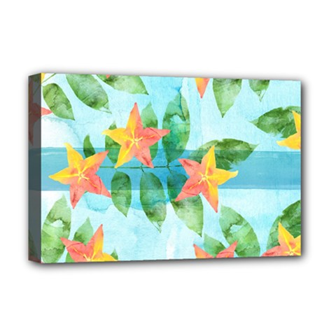 Tropical Starfruit Pattern Deluxe Canvas 18  X 12   by DanaeStudio