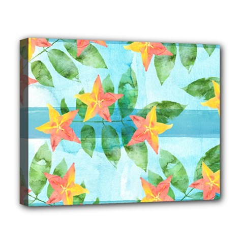 Tropical Starfruit Pattern Deluxe Canvas 20  X 16   by DanaeStudio