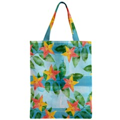 Tropical Starfruit Pattern Zipper Classic Tote Bag by DanaeStudio