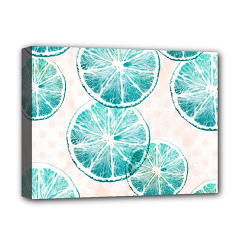Turquoise Citrus And Dots Deluxe Canvas 16  X 12   by DanaeStudio