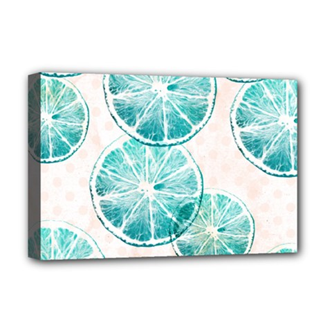 Turquoise Citrus And Dots Deluxe Canvas 18  X 12   by DanaeStudio