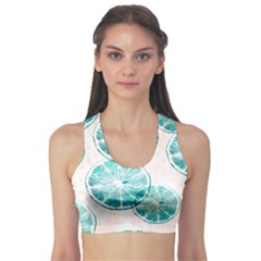 Turquoise Citrus And Dots Sports Bra