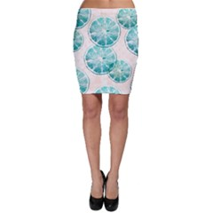 Turquoise Citrus And Dots Bodycon Skirt