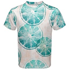 Turquoise Citrus And Dots Men s Cotton Tee