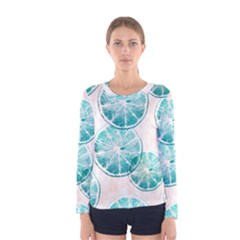 Turquoise Citrus And Dots Women s Long Sleeve Tee by DanaeStudio