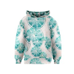 Turquoise Citrus And Dots Kids  Pullover Hoodie
