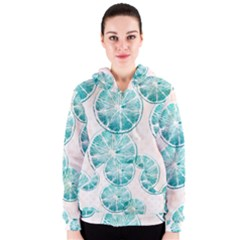 Turquoise Citrus And Dots Women s Zipper Hoodie by DanaeStudio