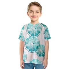 Turquoise Citrus And Dots Kids  Sport Mesh Tee