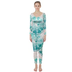 Turquoise Citrus And Dots Long Sleeve Catsuit