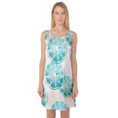 Turquoise Citrus And Dots Sleeveless Satin Nightdress