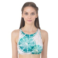 Turquoise Citrus And Dots Tank Bikini Top